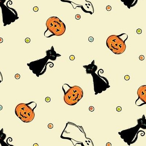 Vintage Halloween Cat, Pumpkin and Ghost with dots on Ivory