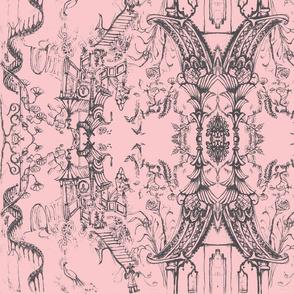 Oriental Wallpaper sketch Blush Pink by Cynthia Tom