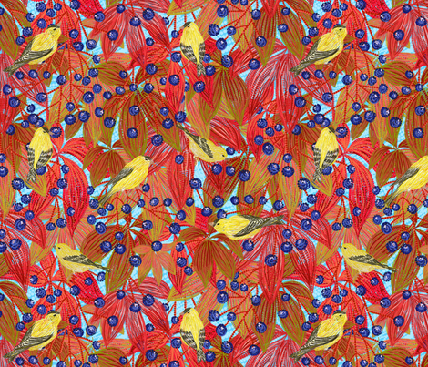 Goldfinches on Wild Grapes (skyblue) fabric by helenpdesigns on Spoonflower - custom fabric