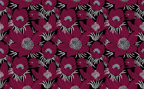 Arctic Beet-red Pasque flowers (black) fabric by helenpdesigns on Spoonflower - custom fabric