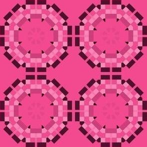 Hot Pink Pixel Circles