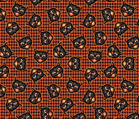 Vintage Halloween Black Cats , Small Textured wallpaper