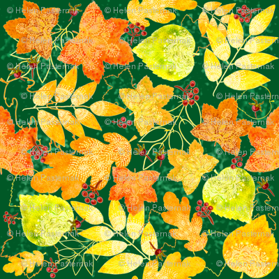 Rustic Fall Leaves (dark green)