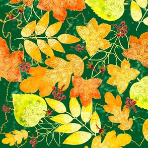 Rustic Fall Leaves (dark green)