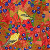 Goldfinches on Wild Grapes (green)