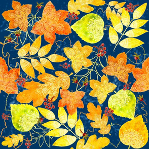 Rustic Fall Leaves (navy)