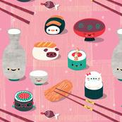 Kawaii Sushi please // vintage retro chopsticks sake rice wine cute kids pug cat kitty rice