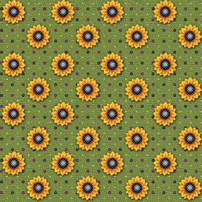 FF - Sunflower Print Green
