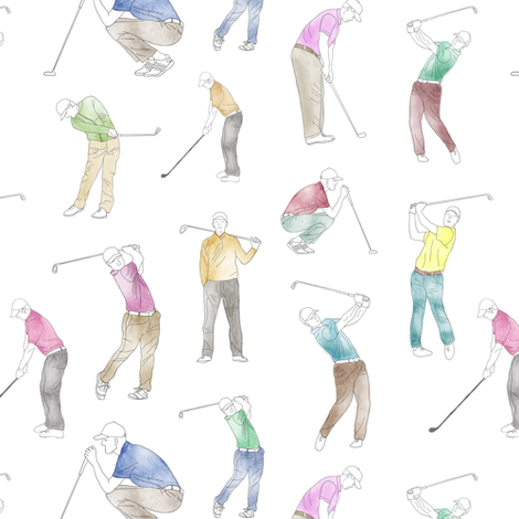 Watercolor Golfers // Small fabric by thinlinetextiles on Spoonflower - custom fabric