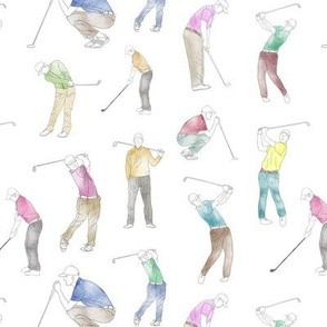 Watercolor Golfers // Small