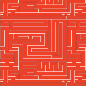 Labyrinth Bright Orange Upholstery Fabric