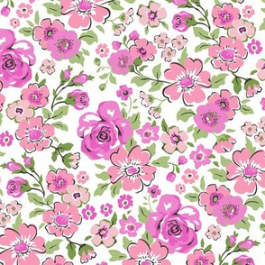 Ditsy Flowers Floral Pink