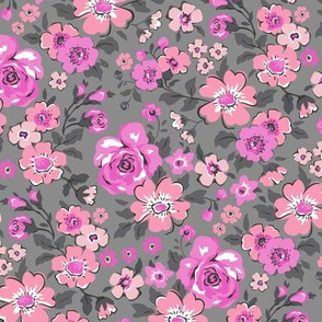 Ditsy Flowers Floral Pink on Grey