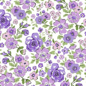 Ditsy Flowers Floral Purple Lilac