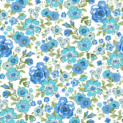 Ditsy Flowers Floral Blue