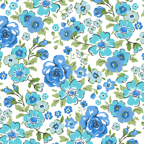 Ditsy Flowers Floral Blue fabric by caja_design on Spoonflower - custom fabric