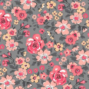 Ditsy Flowers Floral Red Peach on Grey