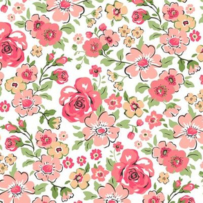 Ditsy Flowers Floral Red Peach