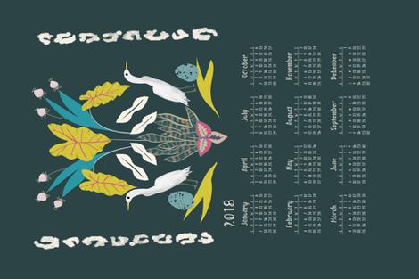 2018 Calendar teatowel egret  fabric by canigrin on Spoonflower - custom fabric
