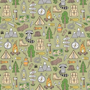 Outdoors Camping Woodland Doodle with Campfire, Raccoon, Mountains, Trees, Logs on Green  Smaller