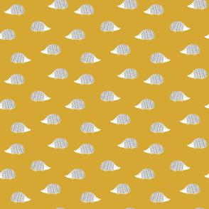 woodland Hedgehogs on mustard yellow