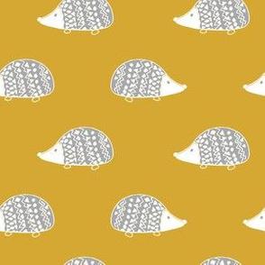 Geometric Hedgehogs on mustard yellow