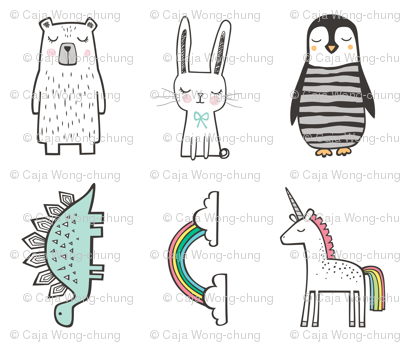 Unicorn,Rainbow,Pinguin, Stegosaurus,Bunny,Bear Pillow Plush Plushie Softie Cut & Sew