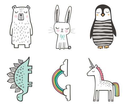 Unicorn,Rainbow,Pinguin, Stegosaurus,Bunny,Bear Pillow Plush Plushie Softie Cut & Sew fabric by caja_design on Spoonflower - custom fabric