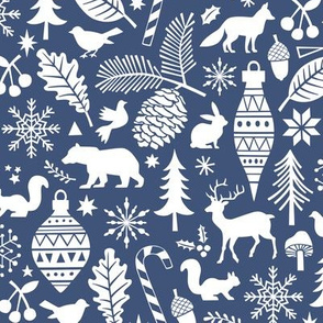 Woodland Forest Christmas Doodle with Deer,Bear,Snowflakes,Trees, Pinecone in Navy Blue