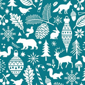 Woodland Forest Christmas Doodle with Deer,Bear,Snowflakes,Trees, Pinecone in  Darker Blue