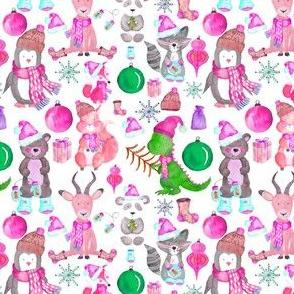 """4"""" PINK Winter Animals"""