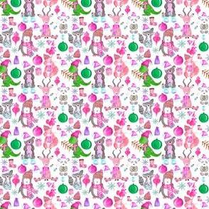 """2"""" PINK Winter Animals"""
