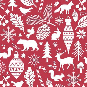 Woodland Forest Christmas Doodle with Deer,Bear,Snowflakes,Trees, Pinecone in Darker Red