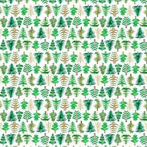 "2"" Green Watercolor Christmas Trees"