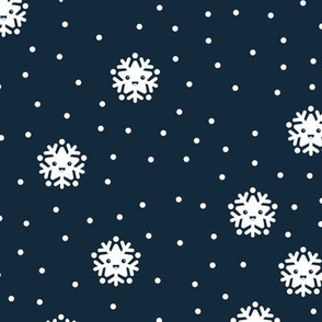 Kawaii love snow flake winter snowy day wonderland japan lovers design navy blue
