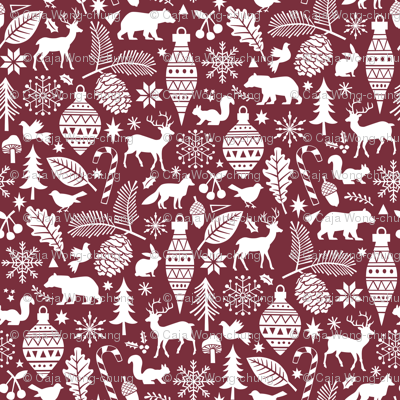 Woodland Forest Christmas Doodle with Deer,Bear,Snowflakes,Trees, Pinecone in Port Dark Red