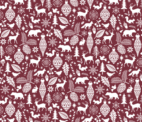 Woodland Forest Christmas Doodle with Deer,Bear,Snowflakes,Trees, Pinecone in Port Dark Red fabric by caja_design on Spoonflower - custom fabric