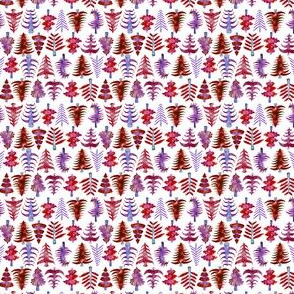 """2"""" Red Watercolor Christmas Trees"""