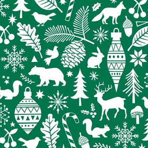 Woodland Forest Christmas Doodle with Deer,Bear,Snowflakes,Trees, Pinecone in Dark Green