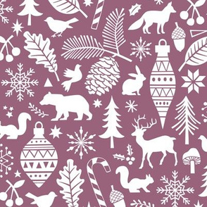 Woodland Forest Christmas Doodle with Deer,Bear,Snowflakes,Trees, Pinecone in Mauve