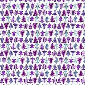 "2"" Purple Watercolor Christmas Trees"