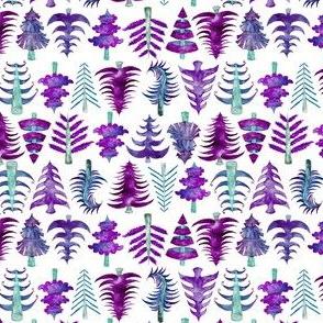 "4"" Purple Watercolor Christmas Trees"