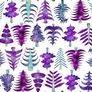"8"" Purple Watercolor Christmas Trees"