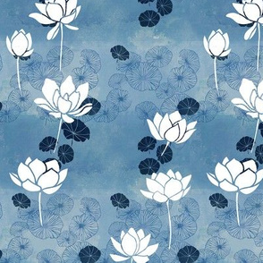Pure zen waterlily pattern in blue and white