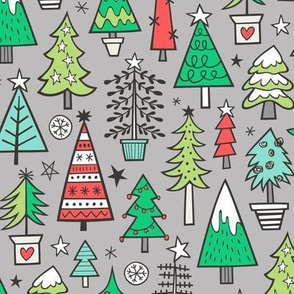 Christmas Trees Doodle Forest Woodland Red on Lighter Grey