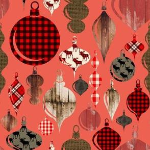 "8"" Lumberjack Christmas Ornaments on Red"