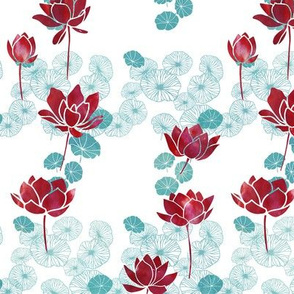 Pure zen waterlily pattern in red and white
