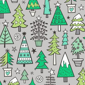 Christmas Trees Doodle Forest Woodland Green on Light Grey