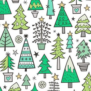 Christmas Trees Doodle Forest Woodland Green on White