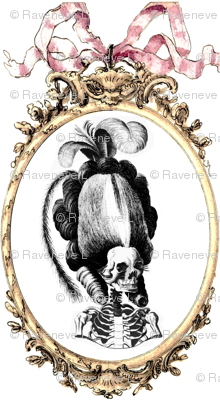 5 Marie Antoinette french France Queen Empress poufs skulls skeletons Victorian elegant gothic lolita Baroque Rococo Princess bows ribbons borders frames medallions  morbid macabre scary parody caricature egl